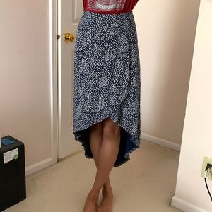 Abercrombie & Fitch navy floral midi skirt